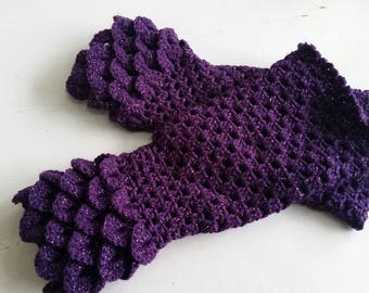 Purple Mittens - Dragon scale gloves - Mermaid gloves - Crocodile gloves - Mermaid mitts - fingerless gloves - Purple gauntlet mittens