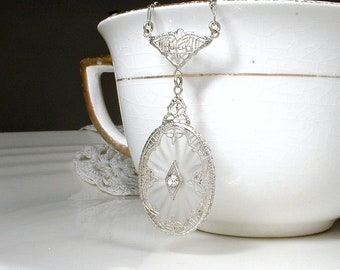 1920s Antique Edwardian/Art Deco Camphor Glass Necklace, Silver Filigree Rhinestone Pendant Bridal Necklace, Vintage Wedding Jewelry 1930s