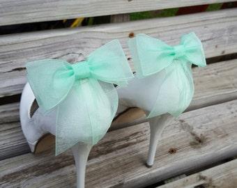 Shoe Clips,  Bridal Shoe Clips, Chiffon  Bow Shoe Clips, Wedding Shoe Clips,  Shoe Clips for Wedding Shoes, Bridal Shoes, MANY COLORS
