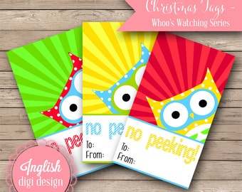 Printable Christmas Tags - Whoo's Watching Me - INSTANT DOWNLOAD