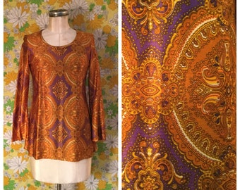 60s 70s Vintage Psychedelic Bell Sleeve Tunic Mini Dress Small Medium