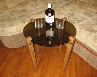 Coffee table, Wooden round table with glass,Table, wooden, glass