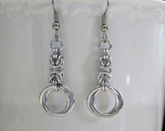 Earrings, Chainmaille Earrings, Byzantine, Infinity Link Hoops
