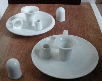 Free Shipping 1950s Faroy Porcelain Candlestick Holder & Snuffers