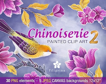CHINESE Birds Flowers clip art designs. Pink Gold, 30 PNG elements, 5 canvas backgrounds, 12x12 digital scrapbook paper. Read about usage