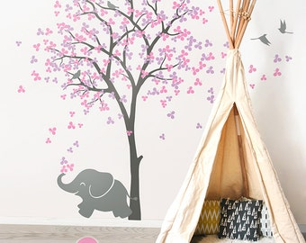"Large Tree Wall Decals Tree Wall Sticker Elephant Decal Decor Tree Wall Art Mural Decoration - Large: approx 83"" x 53"" - KC033"