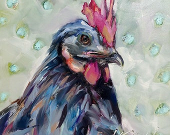 rooster painting | rooster art | chicken painting | chicken art | kitchen art | kitchen decor | farmhouse decor | home decor | wall art