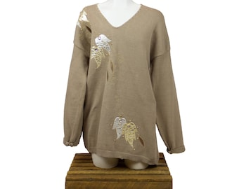 Beige Jewelled and Embroidered Leather Woman's Sweater - XL