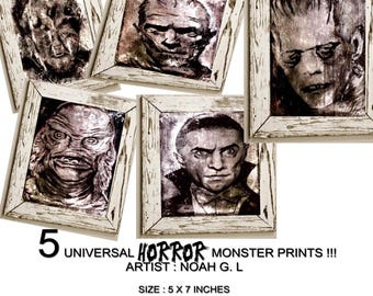 universal horror monsters five artwork painting prints dracula mummy wolfman frankensteins monster creature from the black lagoon