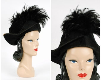 Vintage 1910s Edwardian Hat - Chic Black Tricorn Hat of Fur Felt Velour with Huge Spray of Rooster Feathers