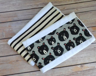 Cloth Diaper Burp Cloth Set, Bear Burpie Set, Baby Boutique, Baby Gift, Baby Shower Gift, Infant Gift, Gender Neutral Baby Gift, Infant Gift