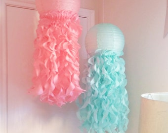 Mermaid Party Under The Sea Party Decorations-Mermaid party-Jellyfish Paper Lanterns-Nursery Decor-Aqua &Coral-Room Decoration-Set of 2