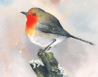Robin bird original watercolor
