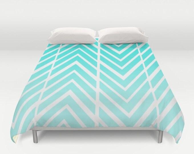 Turquoise Blue Print Duvet Cover - Zig Zag Art - Bed Spread - Bed Cover -  Duvet Cover Only - Bedding - Made to Order