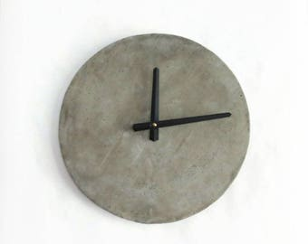 "Cement Wall Clock, 12"" Concrete Clock, Gray Home Decor, Home and Living, Home Decor, Unique Clocks"