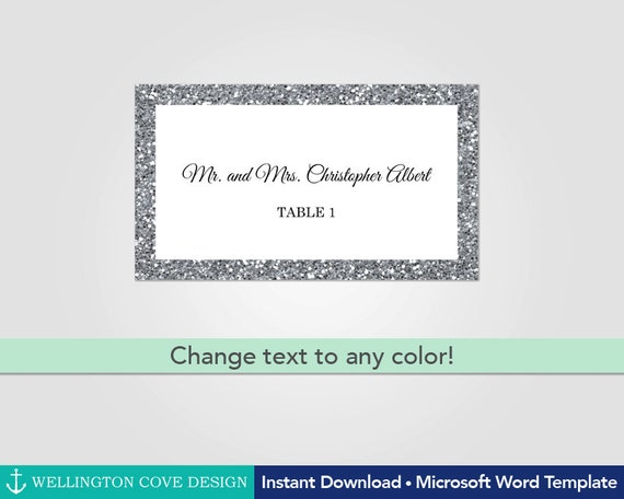 Silver Glitter Wedding Place Cards Template For Microsoft Word