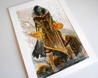 original painting - skyrim character - Archmage dunmer @Méka artwork - drepth