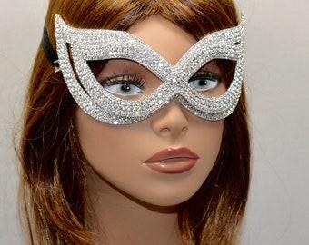 Rhinestone metal mask , Masquerade Mask, Rhinestone Ball party Mask, Silver Mardi Gras Mask, crystal Rhinestone carnival Mask, Costume Mask