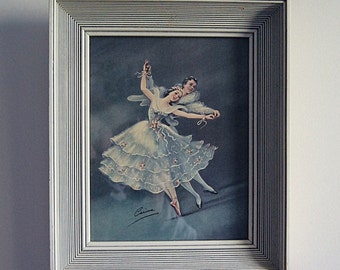 Vintage Art Print Ballet Dancing Couple MCM Wall Art with Blue in White Wood Frame.