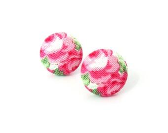 Rose button earrings - romantic floral fabric earrings - spring birthday gift - pink green white stud earrings - tiny bright flower earrings