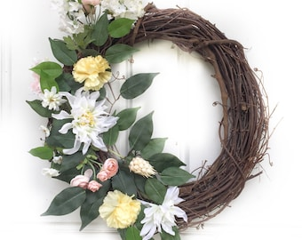 Yellow + Light Pink + White | Spring Wreath | Summer Wreath | Greenery Wreath | Grapevine Wreath | Front Door Wreath