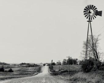Windmill, rural Iowa, Midwest 11 x 14 inch print