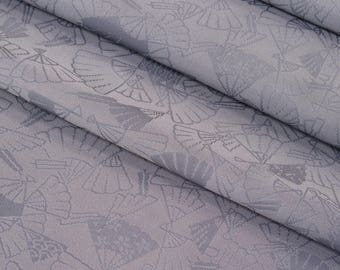 Vintage, gray lavender damask kimono silk with woven fan design- 61 inches (155 cm)