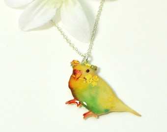 Budgie Pendant Lucky - Parakeet Necklace - Bird Jewelry - Yellow Parakeet Jewelry - Budgie Necklace - Bird Lover Gift - Budgerigar Pendant