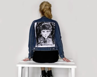 Handpainted Studded Denim Jacket Audrey -denim jacket -womens denim jacket