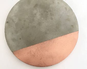 Set of 4 Copper / rose gold segment concrete cement coasters