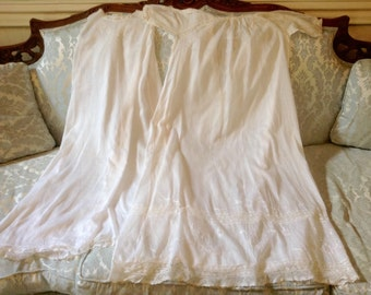 Vintage Christening Baby Gown / Cotton Embroidery Lace Baby Gown / Vintage Baby