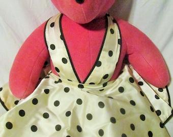 Bearilyn Monroe VIB Bear Teddy Bear North American Bear Company Pink Bear White Halter Dress Panties Vintage Teddy Bear
