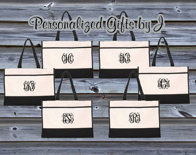 Monogrammed Tote Bag (Set of 9)- Bridesmaid Gift- Personalized Bridemaid Tote - Wedding Party Gift - Name Tote-