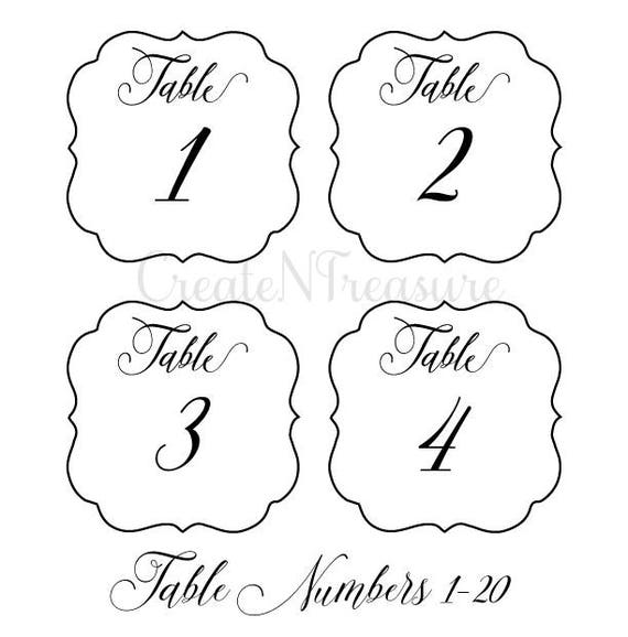 Wedding Table Numbers svg, Table Numbers template svg, Cutting file ...