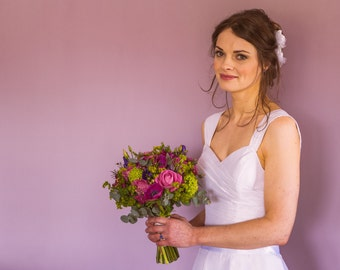Orla - Tea Length Wedding Dress - Alternative Custom Handmade Dress & Bolero Jacket