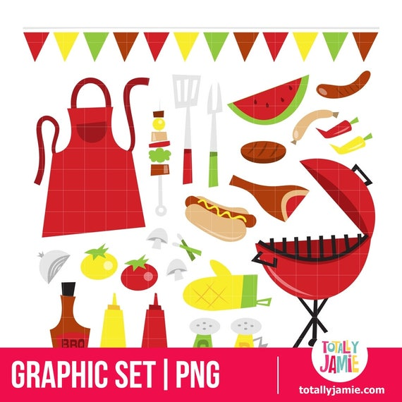 Sommer grill party cliparts png clipart sofort for Party utensilien