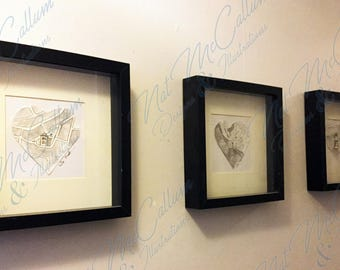 We Met, We Married, We Live Triptych Personalised Family Drawing