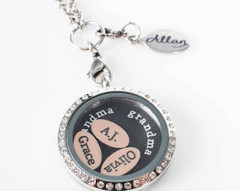 ONE Personalized Floating Name Charm Name for Locket // ONE Custom Charm // ONE Floating Locket Name Charm //