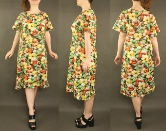 Midi dress vintage, big flowers, gift for her, dress with frill