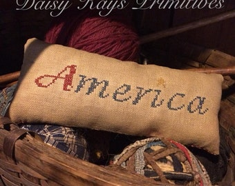 Primitive Colonial Farmhouse | Pillow Tuck Pin Keep Bowl Filler | Americana Patriotic 4th of July Decor | Red White Blue | Cross Stitch