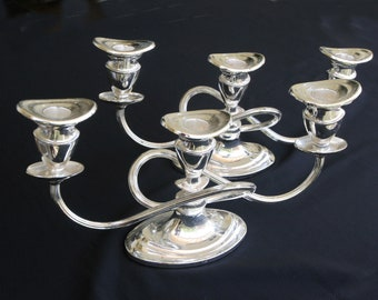 silver, three-armed candleholder (pair)