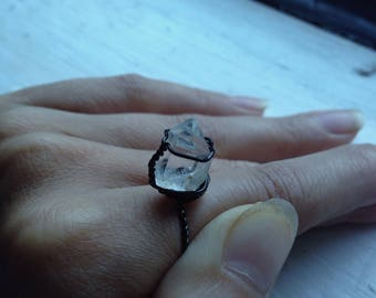 Herkimer Diamond Ring - Gothic Statement Ring - Raw Herkimer Engagement Ring - Quartz Statement Ring - Gothic Jewelry Ring Gift - Size 8 US