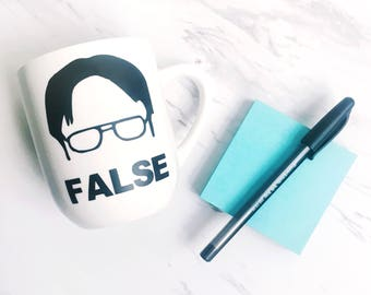 The Office Dwight Schrute Mug - Dwight Fact Mug - Dwight False Mug - Funny Coffee Mug - The Office Mug - Gift for Him - Gift for Her