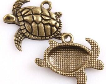 TURTLE - Bronze charm's color pendant charm - 21 x 17 mm