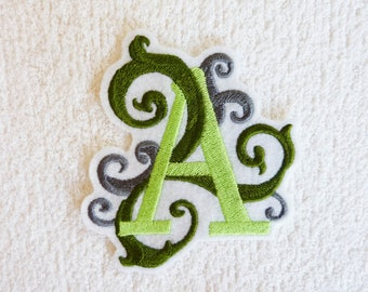 "Applied shield embroidery patch Thermo letter ""A"""
