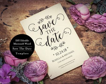 Elegant Save The Date, MS Save The Date Card, Wedding Save The Date Template Printable, Save The Date Card Template, MSW207