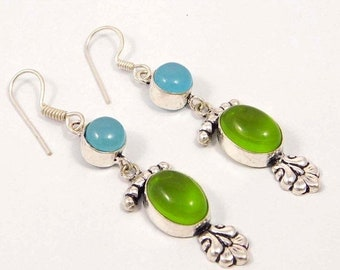 Green & Blue Chalcedony Silver Plated Earrings  Jewelry
