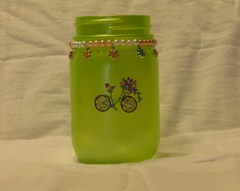 Green Bicycle Jar