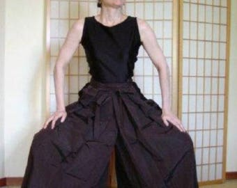 Hakama - Pants Style - Vintage Japanese Hakama - Brown