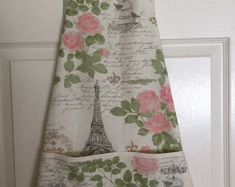 Apron, Paris eiffel  tower, butcher style, cream, rose and green on light w ight linen
